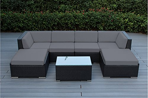 Ohana 7-Piece Outdoor Patio Furniture Sectional Conversation Set, Black Wicker with Gray Cushions – No Assembly with Free Patio Cover