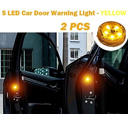 2 PCS Car Door Warning Light 5 LED Wireless Safety Anti collision Alarm Lamp