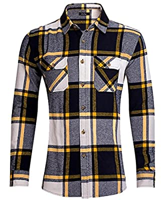 Yayu Mens Plaid Flannel Button-Up Long Sleeve Formal Dress Shirts