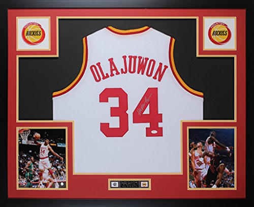 850177ef Hakeem Olajuwon Autographed White Jersey - Beautifully Matted and Framed -  Hand Signed By Hakeem Olajuwon and Certified Authentic by Auto JSA COA -  Includes ...