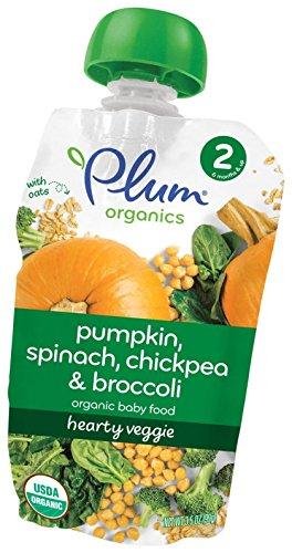 Plum Organics Stage 2 Hearty Veggie Meals – Pumpkin, Spinach, Chickpea & Broccoli – 3.5 oz – 6 pk