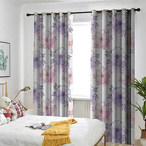 TRTK Bedroom Curtains Insulated Blackout Curtain Anemone Flower,Artistic Hand Drawn Anemone Floral Pattern Serene Spring Meadow Theme,Purple Pink Peach -