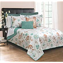 Light Weight Printed & Embroidered 3 Piece QUEEN SIZE Quilt (Green, Queen)