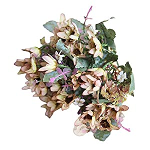 Connoworld-25 Heads/1 Bouquet Artificial Flowers Plant China Aster Simulation Wedding Decor - Beige + Brown 79
