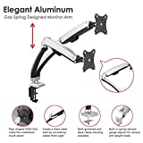 Gas Spring Monitor Articulating Arm Desk Mount for 13''-32''LED LCD Flat Panel TV Screens and Monitors VESA 75/100 Full Motion Swivel with USB Ports(Dual Monitor)