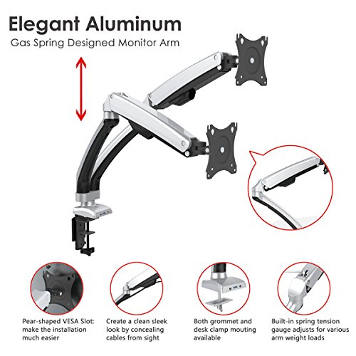Dual Arm Monitor Mount, Gas Spring Desk Mount Monitor Stand with USB Fits Display Screen 13''-32'' (Aluminum Dual Monitor) by Elevens (Image #1)