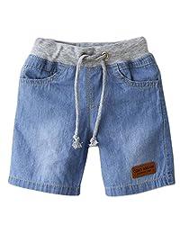 Aivtalk Boys Girls Denim Jeans Drawstring Waistband Short Trousers 2-8 Years