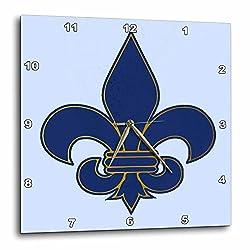 3dRose dpp_22361_3 Large Navy Blue & Gold Fleur De Lis Christian Saints Symbol Wall Clock, 15 by 15