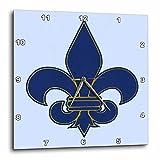 3dRose dpp_22361_3 Large Navy Blue & Gold Fleur De Lis Christian Saints Symbol Wall Clock, 15 by 15''