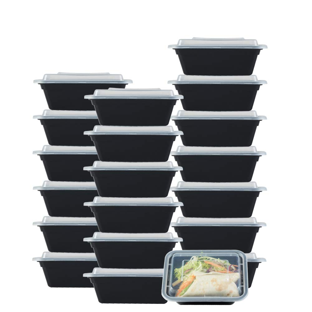NutriBox [20 value pack] single one compartment 12oz mini Meal Prep Food Storage Containers - BPA Free Reusable Lunch bento Box with Lids - Spill proof Proof, Microwave, Dishwasher and Freezer Safe