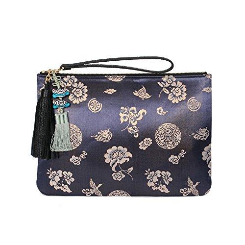 sur Cuir Combinaison Les Kesylang en et Tissus d'embrayage Bleu Femme Sac pour qaTfE8