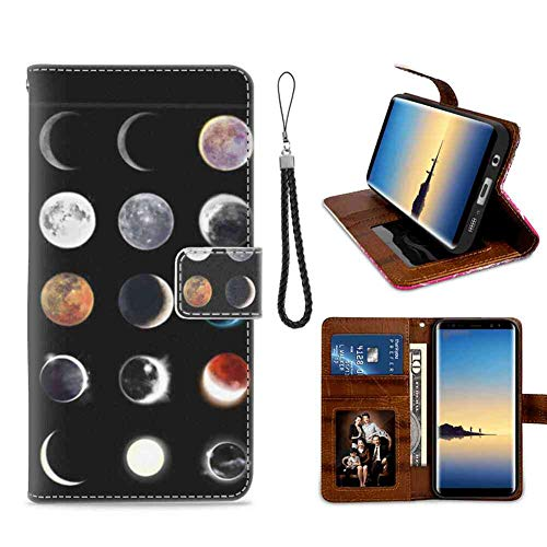 Wallet Case Compatible for Samsung Galaxy Note 8 (6.3inch) Moon Wax or Wane Magnetic Style