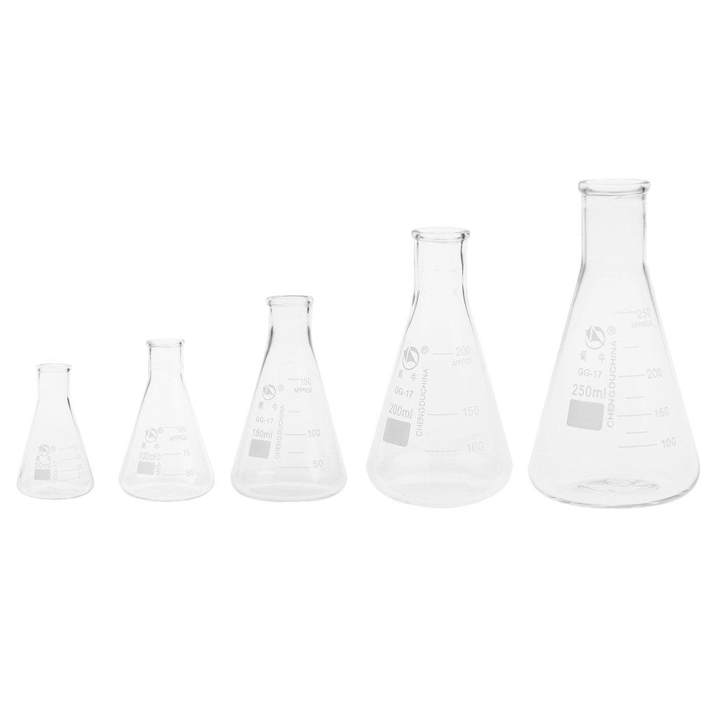 100 ml Homyl 2pcs Flacon Conique Gradu/é Erlenmeyer en Verre Borosilicat/é 50 ml