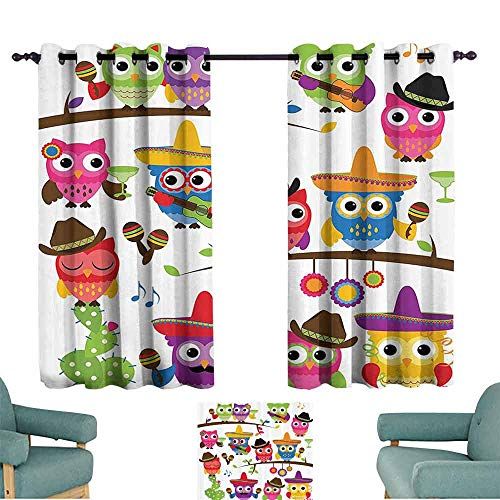 DILITECK Kids Room Curtains Owls Home Decor Collection Collection of Cowboy Owls with Hats Guitars Cactus Cinco de Mayo Design Tie Up Window Drapes Living Room W55 xL39 Blue Green Orange Red