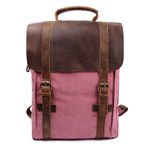 Leather School Travel Backpack Rucksack 15.6-inch Laptop Bag (Pink Trim Snap)