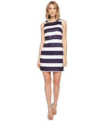 e03a41ad4149af Vince Camuto Women s Satin Shift Dress with Beaded Neckline Navy Ivory Dress  at Amazon Women s Clothing store