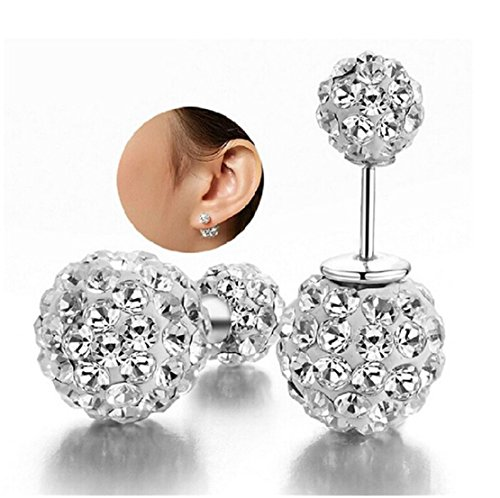 Double Sided Bling Crystal Balls 925 Sterling Silver Studs Tribal (Double Ball Earring)