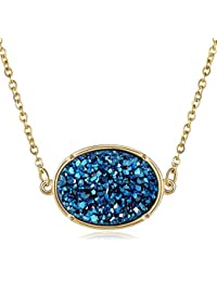 Drusy Necklace - Gold Plated Oval Druzy Pendant Necklace For Women