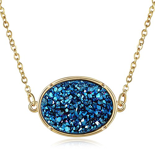 14k Oval Gemstone Pendant (Ellena Rose Druzy Necklace Pendant, 14k Gold Plated Oval Druzy Necklace For Women, 100% Natural Drusy Statement Necklace, Choice of Colors, 18