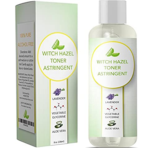 Witch Hazel Toner for Face Alcohol Free Astringent with Pure Lavender Essential Oil & Aloe for Oily Acne Prone + Dry Mature Sensitive Skin to Cleanse + Refresh Skin Natural Skin Care for Men & (Astringent Toner)
