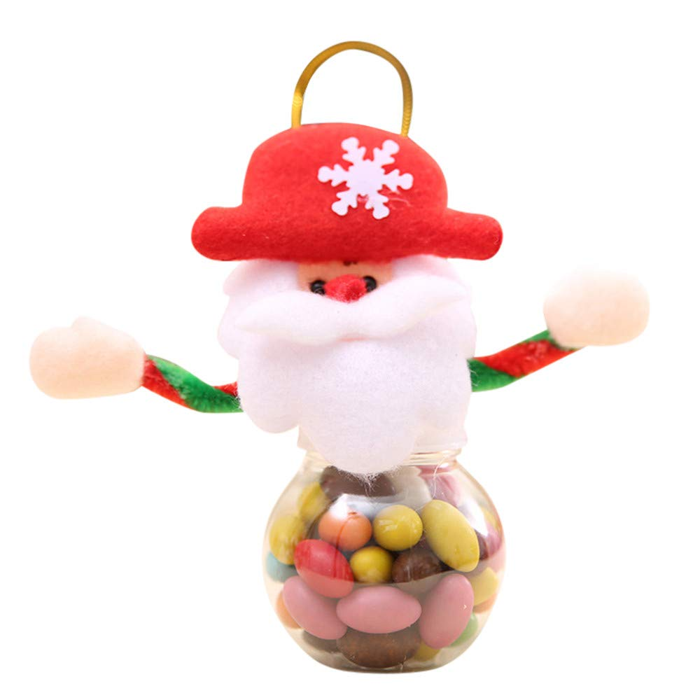 Promisen Cute Christmas Candy Storage Can Decor for Home Gift Biscuit Food Storage Jar (A)