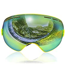 Gizlot Spherical Lens Frameless Snow Goggle with Double Lens Anti-fog Wide Angle for Snow Sports Snowboard Ski Snowmobile Skate Goggle.
