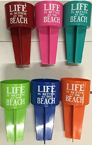 SPIKER Lifestyle Holder, Life is Better at The Beach, 6-Pack Spike Accessory