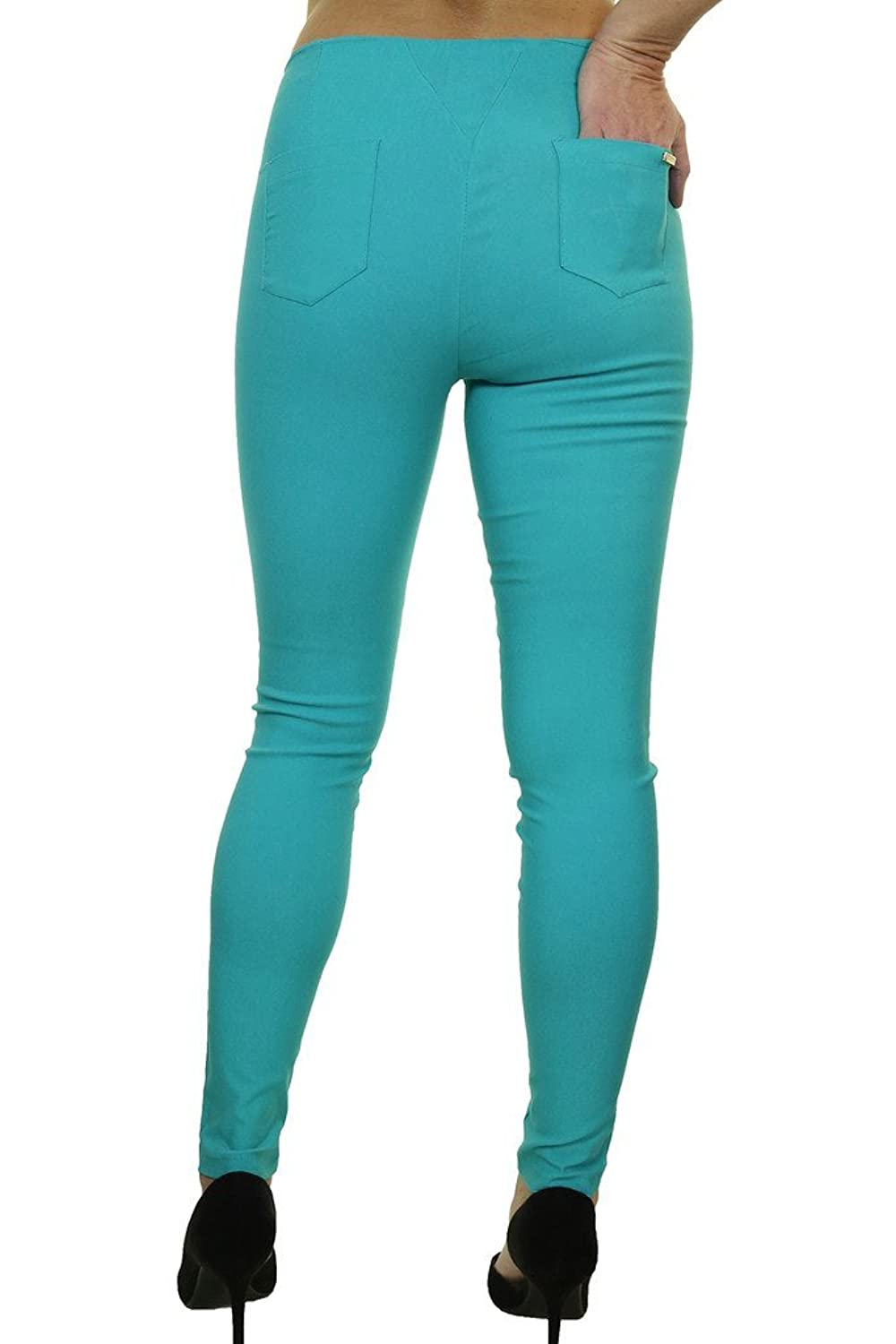 ICE (1499-6) Stretch Super Skinny Pants Front Zips Detail Teal Green