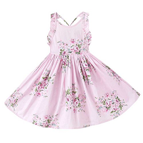 Price comparison product image Big Girls Summer Floral Print Backless Party Dress, Size 5-12Y (7/8Y, Pink)
