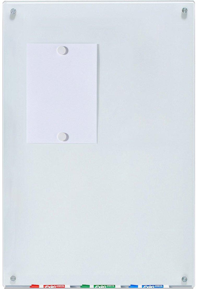 Pizarra Blanca Magnético de Borrado en Seco de Vidrio - 60 cm x 90 cm - 23 5/8