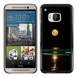 "For HTC One ( M9 ) Case , Completo Waves Yellow Moon Beach Nigh Mar Océano"" - Diseño Patrón Teléfono Caso Cubierta Case Bumper Duro Protección Case Cover Funda"