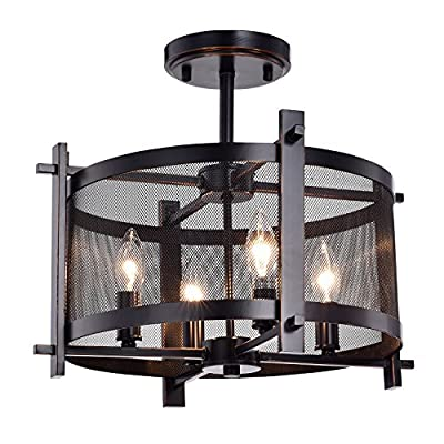 Edvivi Aludra 4-Light Oil Rubbed Bronze Semi Flush Mount Chandelier with Mixed Metal Mesh Shade | ORB | Industrial Lighting