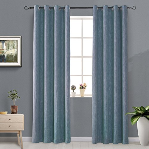 Pair Thermal Insulated Cotton Curtains - Melodieux Elegant Cotton Blackout Thermal Insulated Grommet Top Curtains/Drapes for Bedroom, 52 by 84 Inch, Navy (1 Panel)