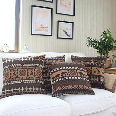 【Bailand】Set of 4 African Theme Cotton/Linen Decorative Pillow Cover
