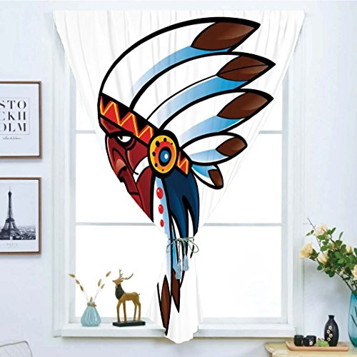 95 Old World Medallion - Blackout Window Curtain,Free Punching Magic Stickers Curtain,Native American,Illustration of Tribal Indian Chief with Feather Shaman Ethnic Old Band in New World,Multi,Paste style,for Living Room