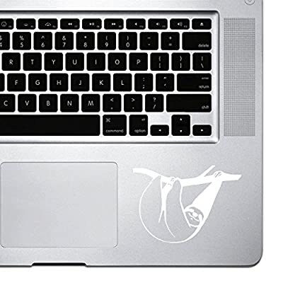 Stickany Palm Series Sloth Hanging Sticker For Macbook Pro, Chromebook, And Laptops (White) - Sloth Art