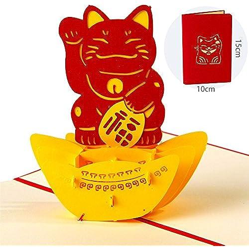Paper Spiritz Maneki Neko Lucky Cat 3D Pop Up Greeting Card Handmade Happy Birthday Wedding Anniversary Valentine's Day Chinese New Year Thank Sales