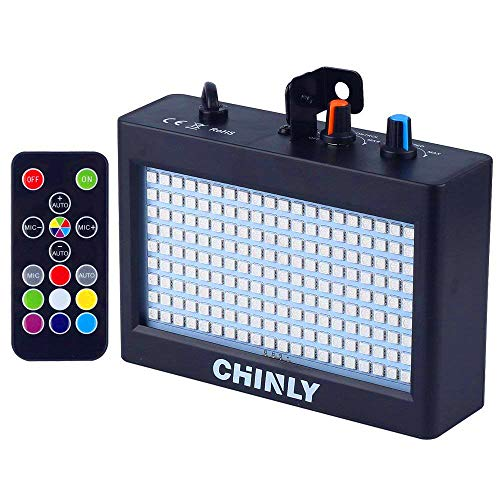 Strobe Light, CHINLY LED Party Stage Lighting RGB 35W 180leds Sound Control Auto Operation Strobe Speed Portable Adjustable for Halloween Disco Bar Wedding Party KTV Concert Remote Control -
