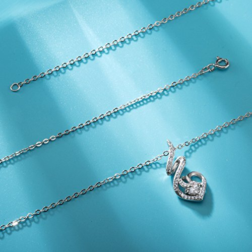 EUDORA Sterling Silver CZ Heart Pendant Necklaces Jewelry for Mother & Daughter,18'' Chain by EUDORA (Image #4)