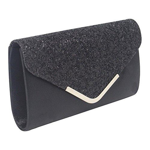 Faux Leather Black Party Shoulder Wocharm Evening Sequin Purse Envelope Clutch Handbag Eqnftv
