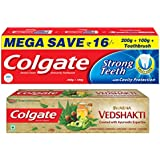 Colgate Swarna Vedshakti - 200 g and Strong Teeth Toothpaste - 300 g with Free Toothbrush