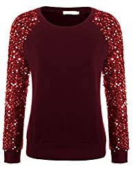 Red Sequined Pullover Long Sleeve Sweatshirt