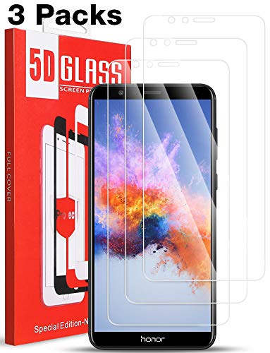 [3 Pack] Compatible for Oneplus 6 Screen Protector - Tempered Glass [Full Coverage] [Bubble-Free] HD Clear Anti Scratch Film for one 6 Plus Phone with Lifetime Replacement Warranty Black (Honor 7X)