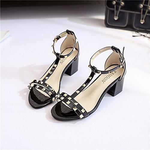Una palabra hebillas gruesas con el zapato de la hembra del verano boca de los pescados de la sandalia de moda de rocío del dedo del pie del zapato Palabra hebilla gruesa Seguir Mujer Black