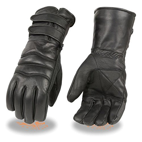 Men's Premium Leather Gauntlet Gloves w/ Long Double Strap Cuff, Warm Lined Motorcycle Gloves (Black, (Cold Weather Leather)