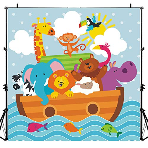 Noah's Ark Party Animals Photography Backdrop for Baby Shower, 6x6FT, Kids Wild Zoo Decoration Background Party Supplies, Photo Booth Studio Props LYLU833