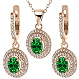 5.35 Ct Green Simulated Emerald 925 Rose Gold Plated Silver Pendant Earrings Set