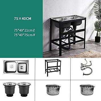 HomeLava Fregadero de cocina de acero inoxidable Fregadero de utilidad 750 * 400 * 750 mm Fregadero de jardín doble fregadero Fregadero de cocina móvil al aire libre: Amazon.es: Bricolaje y herramientas