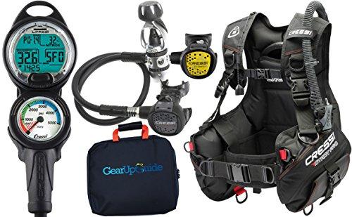 Cressi Start Pro 2.0 Scuba Diving Gear Package Assembled GUpG Reg Bag, Leonardo C2 MD