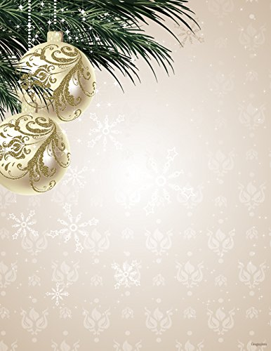 "Ornaments & Pine Gold Foil Christmas Letterhead, 8.5""x11"", 40/PK"